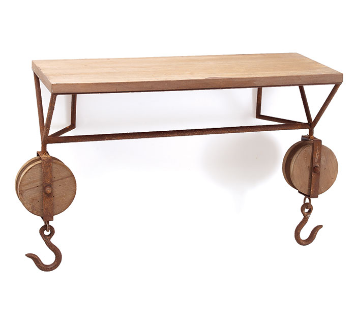 RUSTIC WOODEN/METAL PULLEY SHELF
