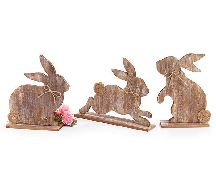 BUNNY SILHOUETTES WOOD SHELF SITTER SET