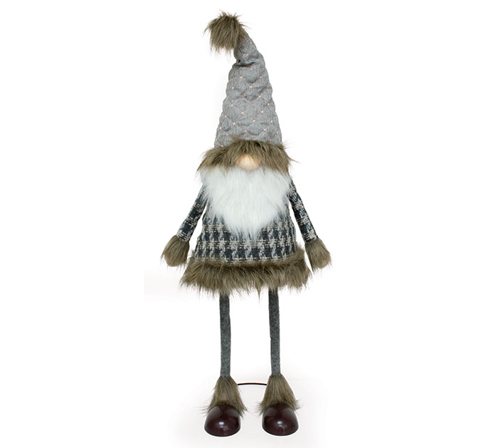 DECOR GRAY/WHITE GNOME WITH BOBBLE BODY
