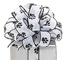 #9 BLACK PAW PRINT SHEER WIRED RIBBON
