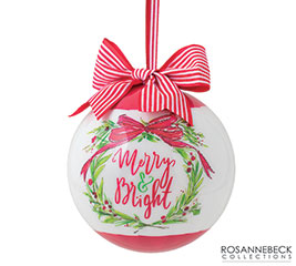 "ORN 4"" MERRY AND BRIGHT WITH WREATH"