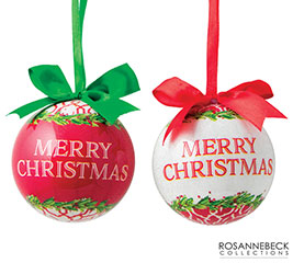 """3"""" MERRY CHRISTMAS ORNAMENTS IN GIFT BOX"""