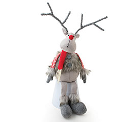 GRAY FAUX FUR REINDEER WITH RED SCARF