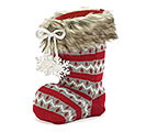 DECOR/VASE KNIT SANTA BOOT WITH FUR CUFF