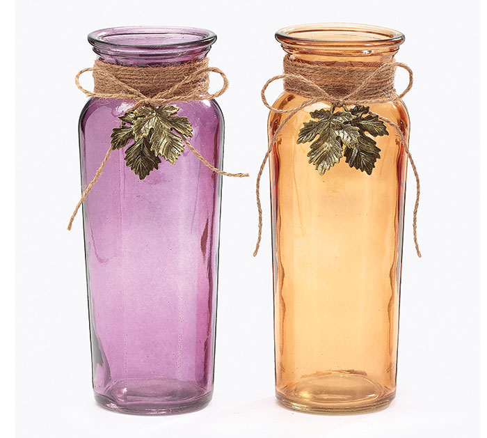 FALL GLASS VASES WITH LEAF DANGLES