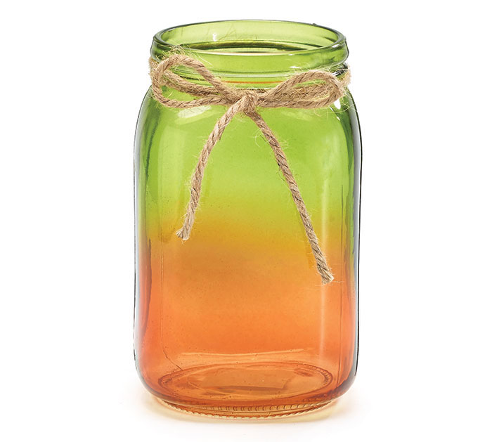LARGE JAR WITH ORANGE/GREEN OMBRE DESIGN