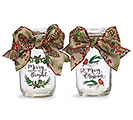 CLEAR JARS WITH CHRISTMAS MESSAGES  BOW