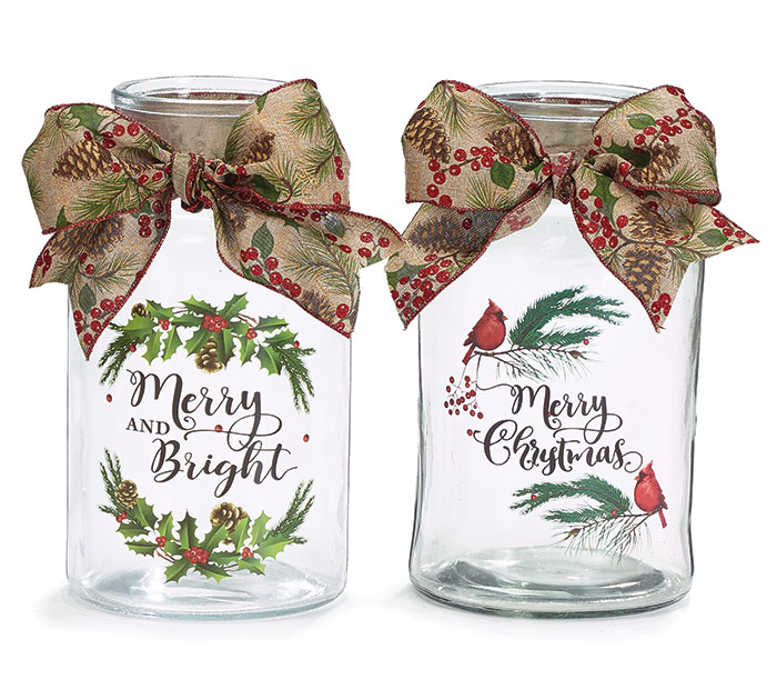CLEAR VASE WITH CHRISTMAS MESSAGES  BOW