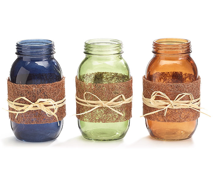 FALL MASON JARS WITH TWINE BOW