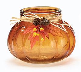 RIBBED PUMPKIN SHAPE GLASS VASE BROWN