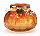 RIBBED PUMPKIN SHAPE GLASS VASE BROWN