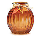 FALL GLASS VASE TALL RIBBED BROWN