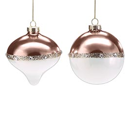 """ORNAMENT 4"""" ROSE GOLD AND WHITE"""