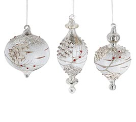 ORNAMENT ASSORTED SHAPES RAISED PINECONE