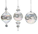 GLASS ORNAMENT WITH SILVER AND PEARLS