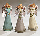 PORCELAIN HOLLY ANGEL FIGURINE ASTD SET