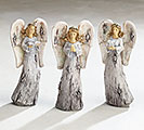 FIGURINE WOODLIKE ANGELS 3 DESIGNS RESIN