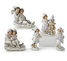 CHILDREN IN SNOW ASTD 5 SHAPES RESIN