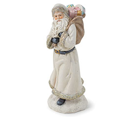 IVORY SANTA WITH TOY BAG RESIN FIGURINE