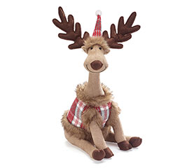 "18"" PLUSH MOOSE WITH PLAID SHIRT/HAT"