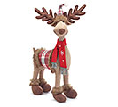"26"" PLUSH MOOSE WITH RED SWEATER DECOR"