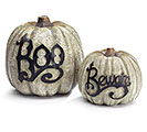 DECOR GRAY HALLOWEEN PUMPKIN BOO/BEWARE
