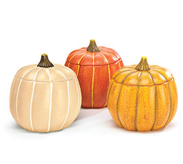 ASSORTED PUMPKINS WITH REMOVABLE LID