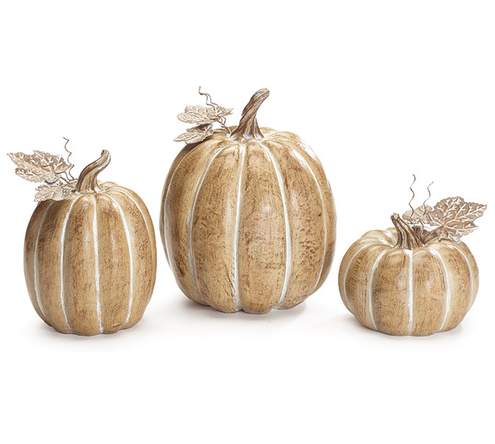 BROWN WOOD GRAIN RESIN PUMPKIN SET