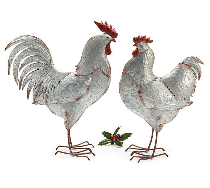 ROOSTER AND HEN DISTRESSED TIN DECOR