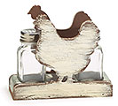 WHITEWASHED WOOD ROOSTER SALT/PEPPER SET