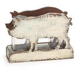 WHITEWASHED WOOD PIG SALT/PEPPER SET