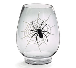 GLASS VASE WITH SPIDER ON FRONT