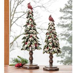 SNOW COVERED HOLLY TREE W/CARDINAL SET