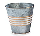"4"" GALVANIZED TIN POT COVER WITH GOLD"