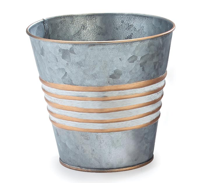 """4"""" GALVANIZED TIN POT COVER WITH GOLD"""