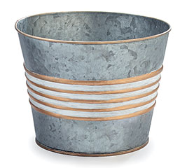 "6"" GALVANIZED TIN POT COVER WITH GOLD"