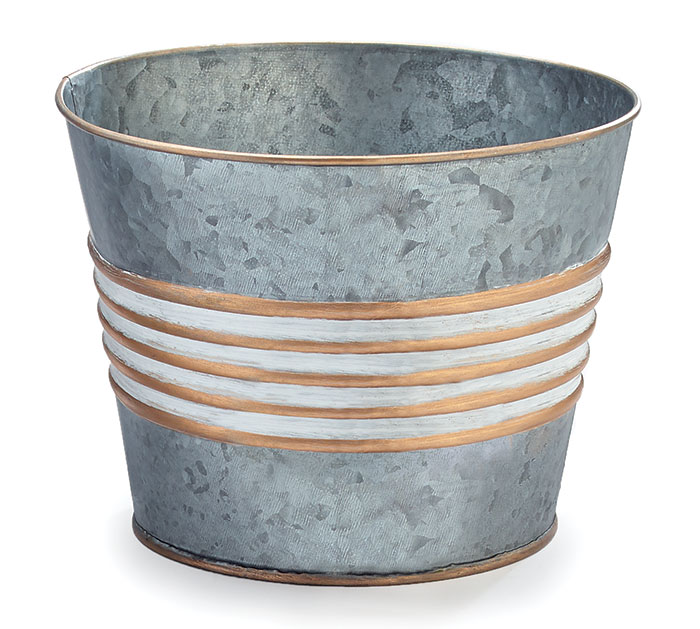 """6"""" GALVANIZED TIN POT COVER WITH GOLD"""