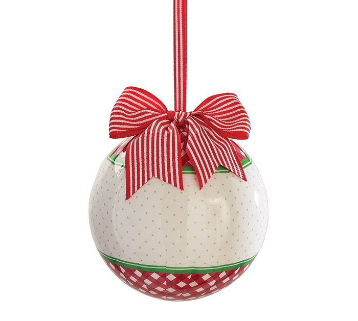"4"" RED AND WHITE PERSONALIZE ORNAMENT"