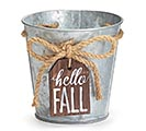 "4"" POT COVER HELLO FALL TAG GALVANIZED"