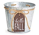 "6"" POT COVER HELLO FALL TAG GALVANIZED"
