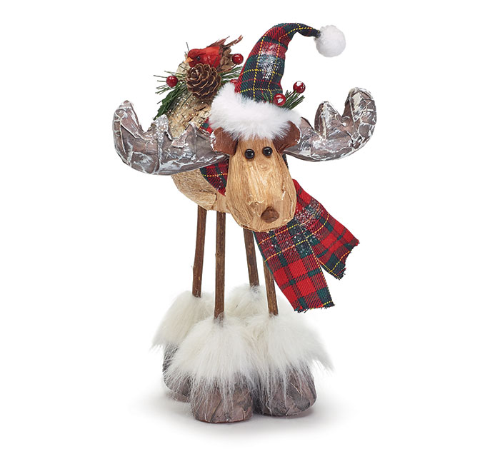 STANDING MOOSE WITH CARDINAL ON BACK