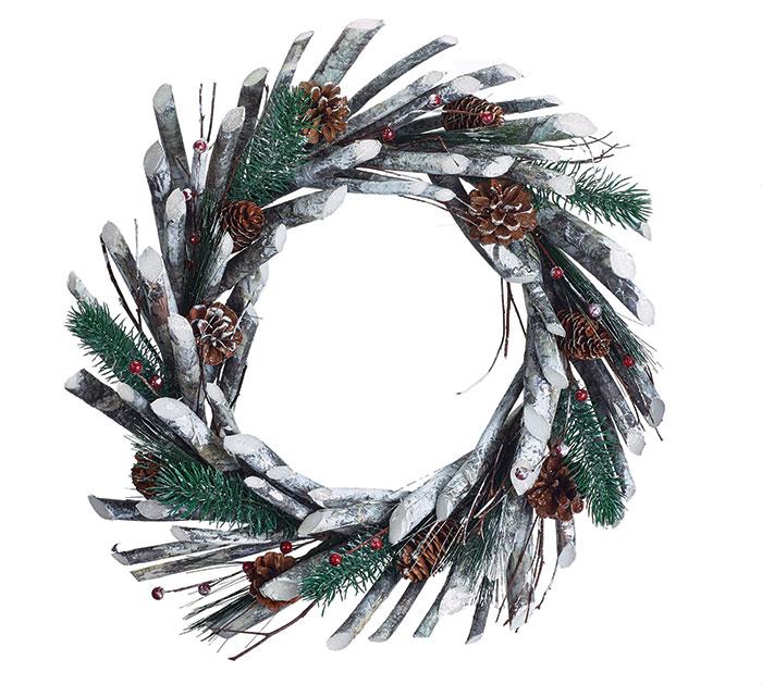CHRISTMAS WREATH WITH GREENERY/PINECONES