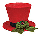 RED TOP HAT TREE TOPPER WITH GREEN BOW