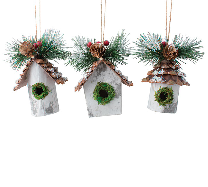 BIRDHOUSE ORNAMENT ASSORTED SHAPES