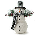 WHITE FUR SNOWMAN WITH GRAY HAT / SCARF