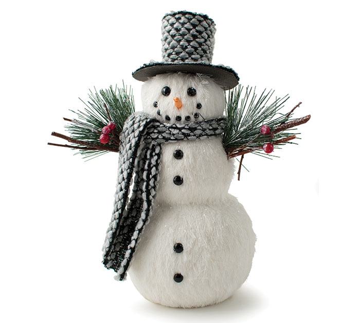 b6bde0dc8f6b0 WHITE FUR SNOWMAN WITH GRAY HAT   SCARF