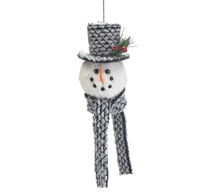 SNOWMAN ORNAMENT WITH GRAY HAT AND SCARF