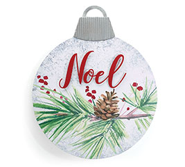 """LARGE """"NOEL"""" TIN ORNAMENT WITH EASEL"""