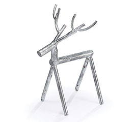 DISTRESSED SMALL SILVER METAL STICK DEER