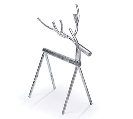 LARGE DISTRESSED SILVER METAL STICK DEER